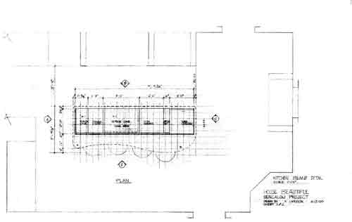 Plan of kitchen island